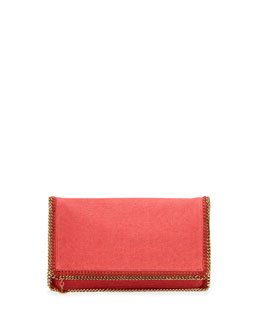 Stella McCartney Falabella Linen Fold-Over Clutch Bag, Lipstick