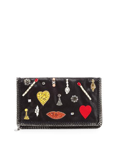 Falabella Embellished Fold-Over Clutch Bag, Black