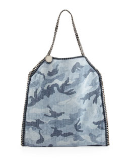 Stella McCartney Falabella Camo-Print Big Tote Bag, Pale Blue