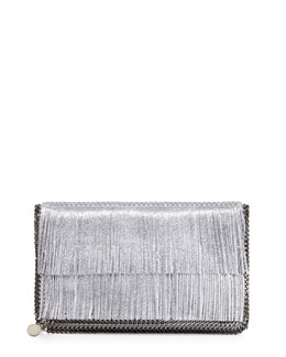 Stella McCartney Falabella Fold-Over Fringe Clutch Bag, Silver