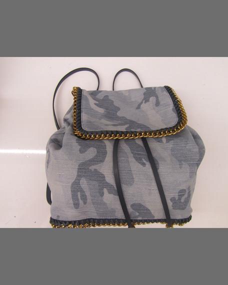 Falabella Camo Canvas Faux-Leather Rucksack, Pale Blue Camo