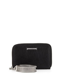 Elizabeth and James Lizard-Embossed Smart Phone Wristlet, Black