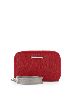 Elizabeth and James Lizard-Embossed Smart Phone Wristlet, Red Joy