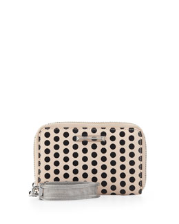 Elizabeth and James Polka Dot Lambskin Wristlet, Champagne/Black