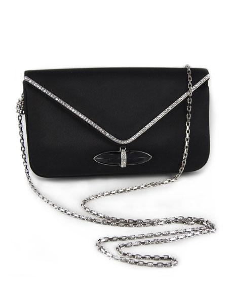 Whitney Satin Clutch Bag, Black