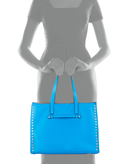 Rockstud Large Soft Tote Bag, Blue Poudre