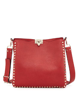 Valentino Rockstud Flip-Lock Messenger Bag, Rosso Red