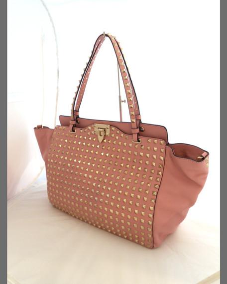 Rockstud Medium Embellished Tote Bag, Rose/Platino