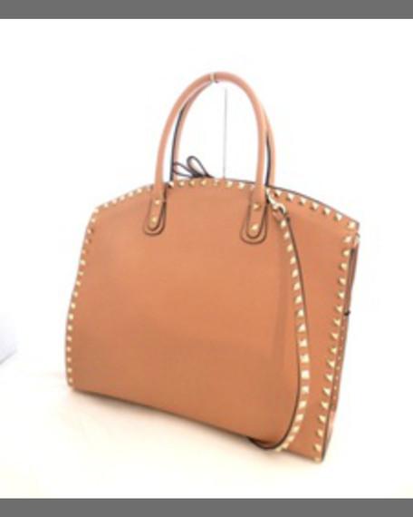 Rockstud Leather Shield Bag, Light Platino