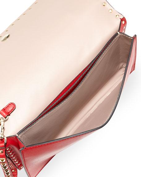 Rockstud Flap Wristlet Clutch Bag, Rosso V
