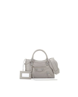 Balenciaga Classic Mini City Bag, Gris Clair