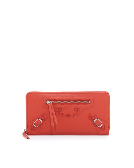 Classic Continental Zip Wallet, Rouge Coquel