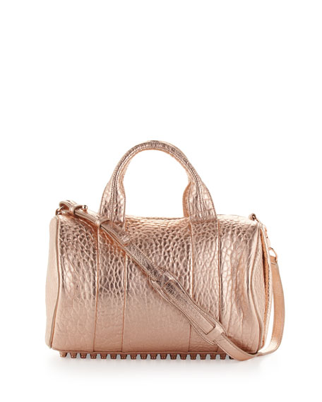 Rocco Stud-Bottom Satchel Bag, Rose Gold