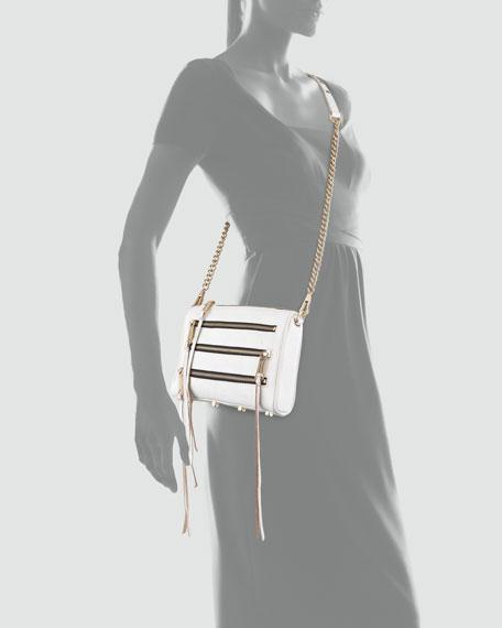 Five-Zip Mini Crossbody Bag, White