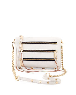 Rebecca Minkoff Five-Zip Mini Crossbody Bag, White