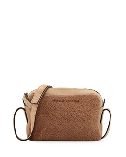 Brunello Cucinelli Mini Leather Crossbody Bag, Bisco