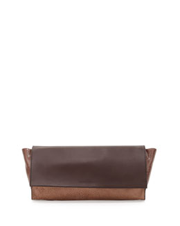 Brunello Cucinelli Distressed Colorblock Clutch Bag, Chocolate