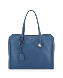 Alexander McQueen New Skull Padlock Zip-Around Tote Bag, Cadet Blue