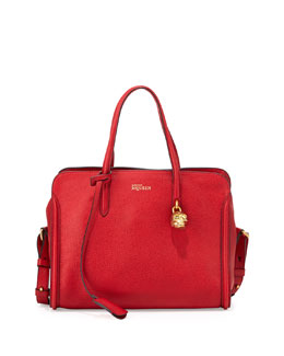 Alexander McQueen Small Padlock Zip-Around Tote Bag, Red