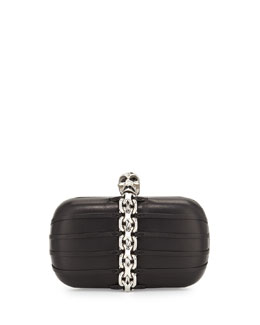 Alexander McQueen Chain-Trim Skull-Clasp Box Clutch Bag, Black/Nickel