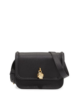 Alexander McQueen Skull Padlock Flap-Top Shoulder Bag, Black