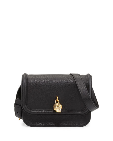 Skull Padlock Flap-Top Shoulder Bag, Black