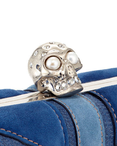 Brittania Suede & Denim Skull Box Clutch, Blue Denim