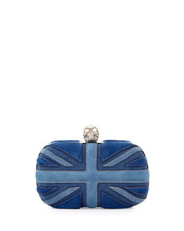 Alexander McQueen Brittania Suede & Denim Skull Box Clutch, Blue Denim