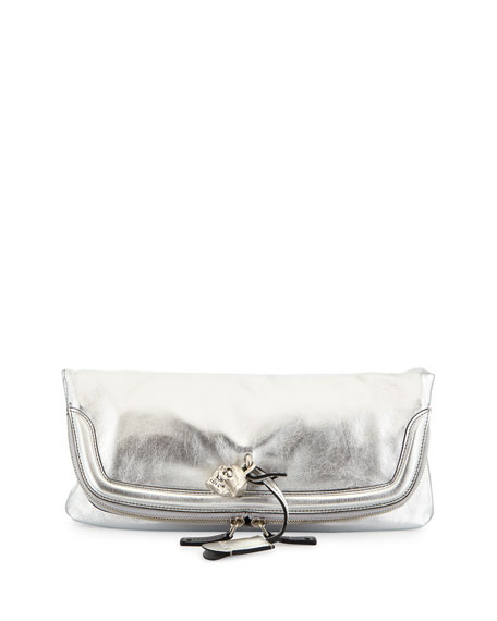 Skull Padlock Metallic Fold-Over Clutch Bag, Silver