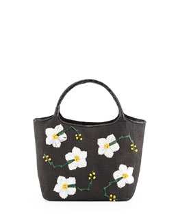 Nancy Gonzalez Crocodile/Straw Flower Tote Bag, Black Floral