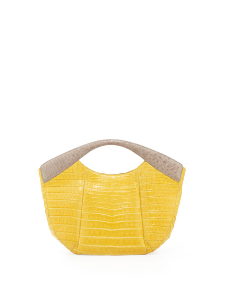 Medium Cutout-Handle Crocodile Tote Bag, Yellow