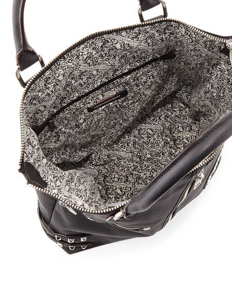 Moto Stud and Zipper Tote Bag, Black