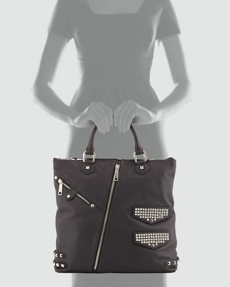 Moto Stud and Zipper Tote Bag, Black