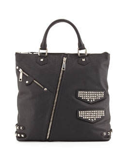 Rebecca Minkoff Moto Stud and Zipper Tote Bag, Black