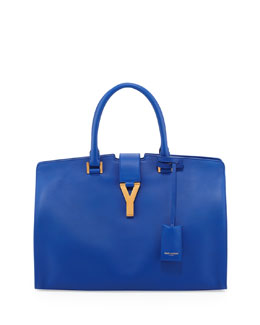 Saint Laurent Y-Ligne Classic Cabas Carryall Bag, Blue