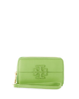 Tory Burch Stacked T Zip Smart-Phone Wallet, Fiji Green