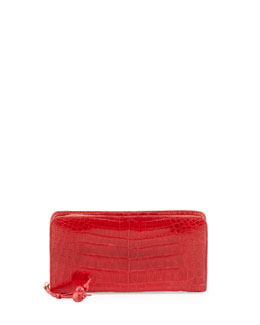 Nancy Gonzalez Crocodile Zip Continental Wallet, Med Red