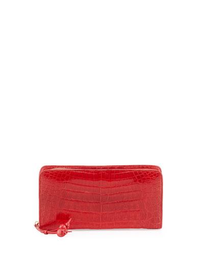 Nancy Gonzalez Crocodile Zip Continental Wallet, Med Red
