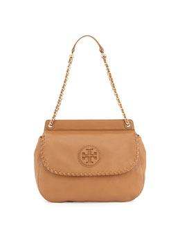 Tory Burch Marion Leather Saddle Bag, Beige