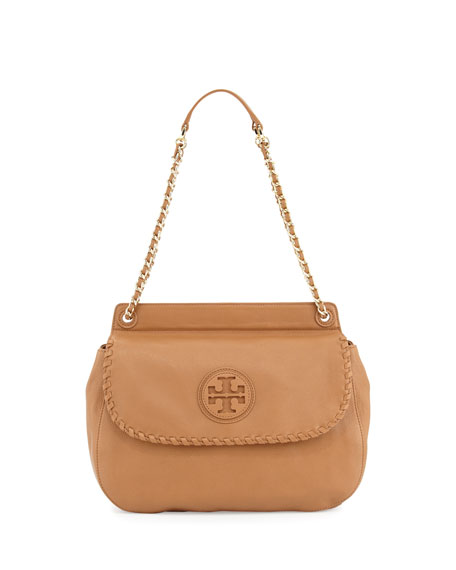 Marion Leather Saddle Bag, Beige