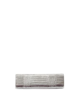 Nancy Gonzalez Slicer Crocodile Clutch Bag, Silver