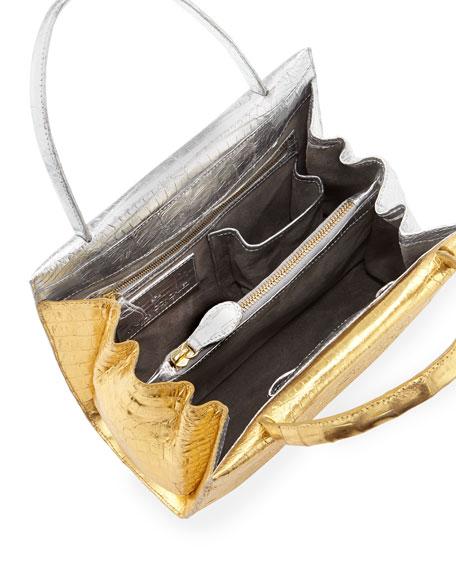 Wallis Mini Bicolor Metallic Crocodile Tote Bag, Gold