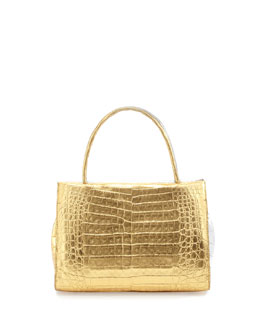 Nancy Gonzalez Wallis Mini Bicolor Metallic Crocodile Tote Bag, Gold