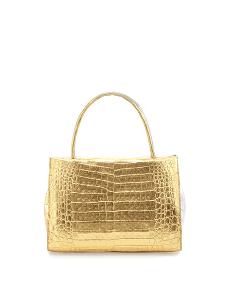 Wallis Mini Bicolor Metallic Crocodile Tote Bag, Gold