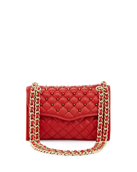 Quilted Affair Studded Mini Shoulder Bag, Scarlet