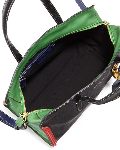 Colorblock Padlock Zip-Around Tote Bag