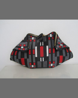Alexander McQueen De-Manta Small Geometric Clutch Bag, Red/Black/Ivory