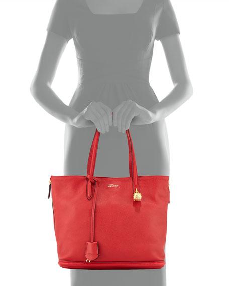 Pebbled Padlock Shopper Tote, Red