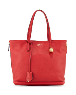 Alexander McQueen Pebbled Padlock Shopper Tote, Red