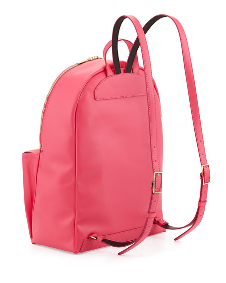 Beckett Soft Faux-Leather Backpack, Hot Pink